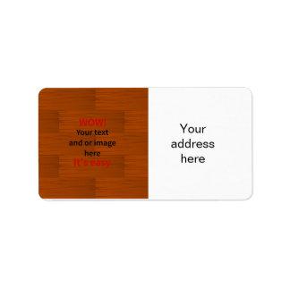 Lyer bajo de madera añade su propio texto etiqueta de dirección