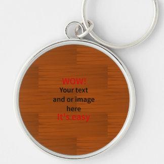 Lyer bajo de madera añade su propio texto llavero redondo plateado