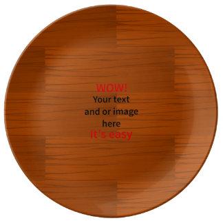 Lyer bajo de madera añade su propio texto plato de cerámica