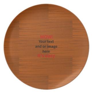 Lyer bajo de madera añade su propio texto platos de comidas