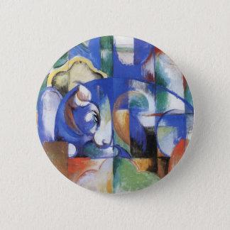 Lying Bull by Franz Marc, Vintage Cubism Art Button