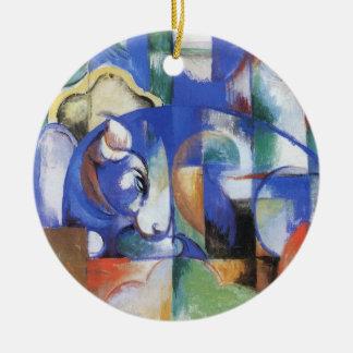 Lying Bull by Franz Marc, Vintage Cubism Art Ceramic Ornament
