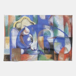 Lying Bull by Franz Marc, Vintage Cubism Art Hand Towel