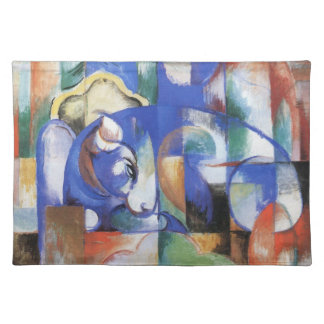 Lying Bull by Franz Marc, Vintage Cubism Art Placemat