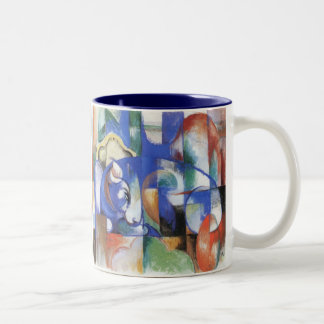 Lying Bull by Franz Marc, Vintage Cubism Art Two-Tone Coffee Mug