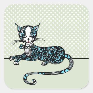 Lying cat square sticker