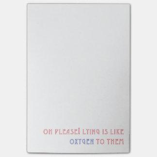 Lying is like Oxygen Post-it® Notes
