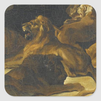 Lying Lions by Theodore Gericault Square Sticker