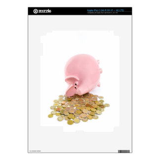 Lying pink piggy bank with pile of euro coins iPad 3 skins
