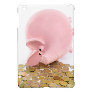 Lying pink piggy bank with pile of euro coins iPad mini cover