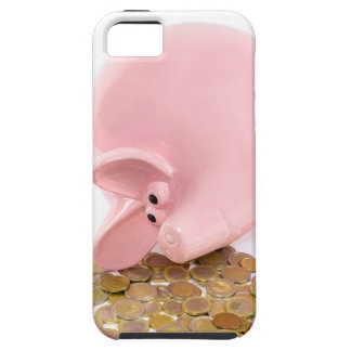 Lying pink piggy bank with pile of euro coins iPhone SE/5/5s case