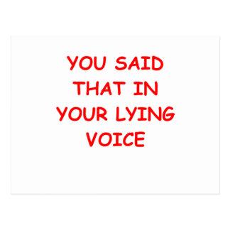 lying postcard