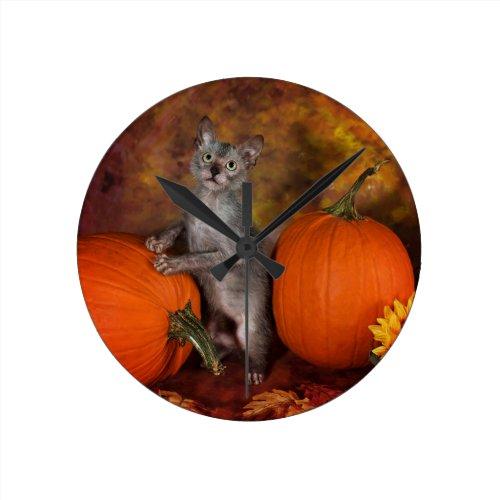 Lykoi Kitty & Pumpkins Round Wall Clocks