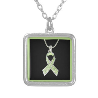LYME AWARENESS RIBBON PRODUCT SQUARE PENDANT NECKLACE