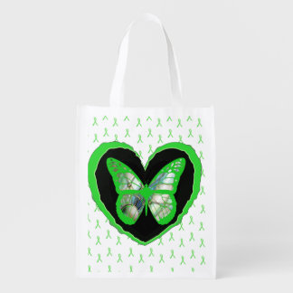 Lyme Disease Awareness Butterfly and Ribbons Grocery Bag