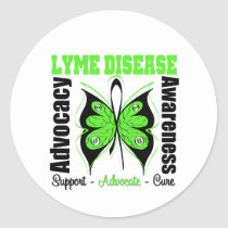 Lyme Disease Awareness Butterfly Classic Round Sticker
