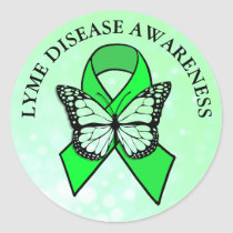 Lyme Disease Awareness Butterfly Ribbon Classic Round Sticker
