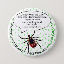 Lyme Disease Awareness Button, Tick Button