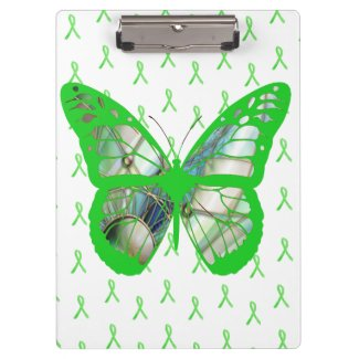 Lyme Disease Awareness Green Butterfly Clipboard