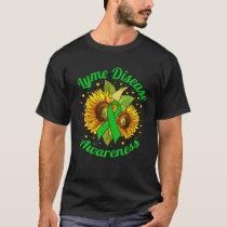 Lyme Disease Awareness Green Ribbon Sunflower T-Shirt