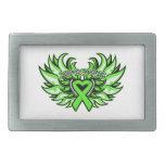Lyme Disease Awareness Heart Wings Rectangular Belt Buckles