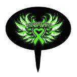 Lyme Disease Awareness Heart Wings Cake Pick