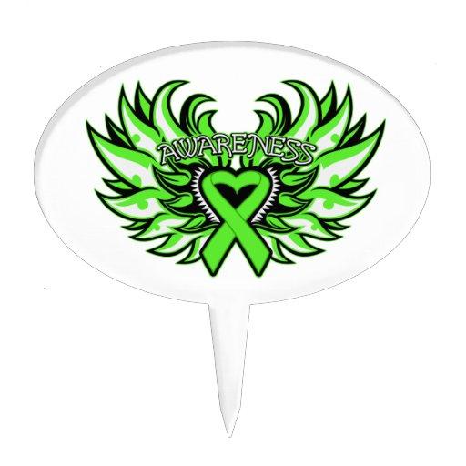 Lyme Disease Awareness Heart Wings Cake Toppers