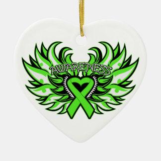 Lyme Disease Awareness Heart Wings Christmas Tree Ornament