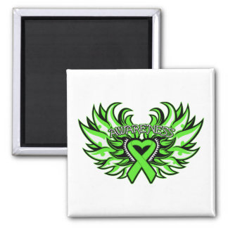 Lyme Disease Awareness Heart Wings.png 2 Inch Square Magnet