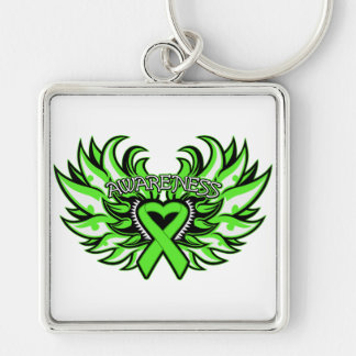 Lyme Disease Awareness Heart Wings.png Keychains