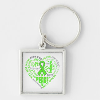 Lyme Disease Awareness Heart Words Keychains