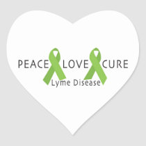 LYME DISEASE AWARENESS PRODUCT ~ Peace, Love, Cure Heart Sticker