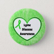 Lyme Disease Awareness Ribbon  Heart Button