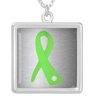 Lyme Disease Awareness Ribbon Square Pendant Necklace