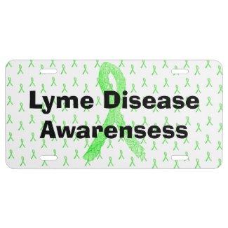 Lyme Disease Awareness Ribbons Front License Plate