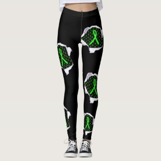 Lyme Disease Awareness Ribbons Leggings Black