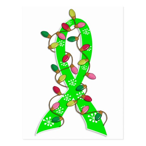 Lyme Disease Christmas Lights Ribbon Postcard