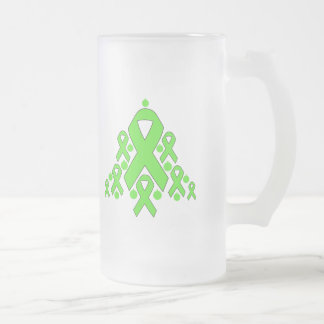 Lyme Disease Christmas Ribbon Tree 16 Oz Frosted Glass Beer Mug