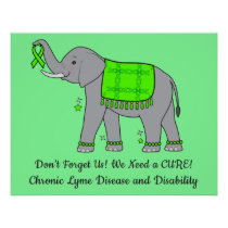 Lyme Disease Elephant of Awareness and Hope Poster