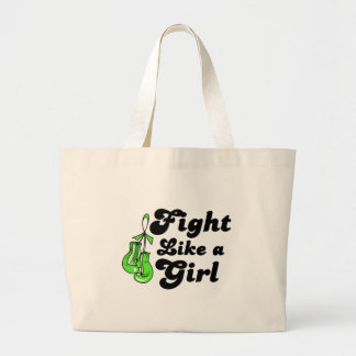 Lyme Disease Fight Like A Girl Motto Canvas Bags