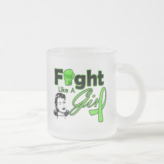 Lyme Disease Fight Like A Girl - Retro Girl 10 Oz Frosted Glass Coffee Mug
