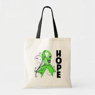 Lyme Disease Floral Hope Ribbon Tote Bags