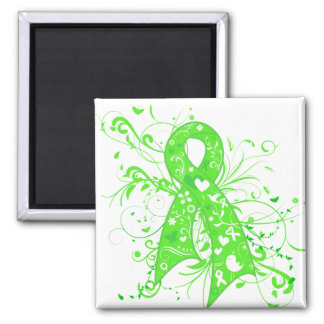 Lyme Disease Floral Swirls Ribbon 2 Inch Square Magnet