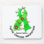 Lyme Disease Flower Ribbon 1 Mouse Mats