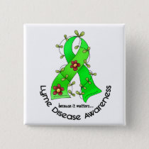 Lyme Disease Flower Ribbon 1 Pinback Button