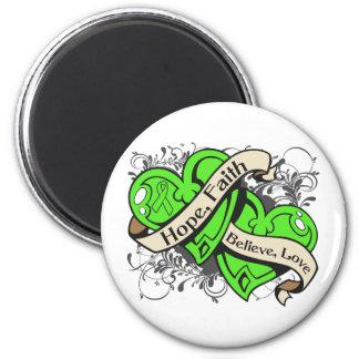 Lyme Disease Hope Faith Dual Hearts 2 Inch Round Magnet