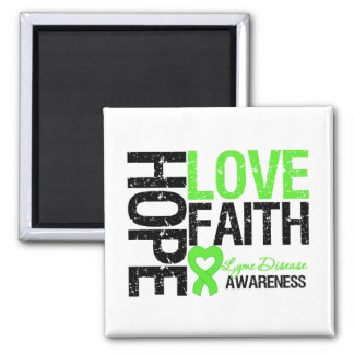 Lyme Disease Hope Love Faith 2 Inch Square Magnet