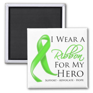 Lyme Disease I Wear a Ribbon For My Hero 2 Inch Square Magnet