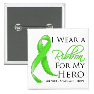 Lyme Disease I Wear a Ribbon For My Hero Button