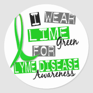 Lyme Disease I Wear Lime Green For Awareness 37 Classic Round Sticker